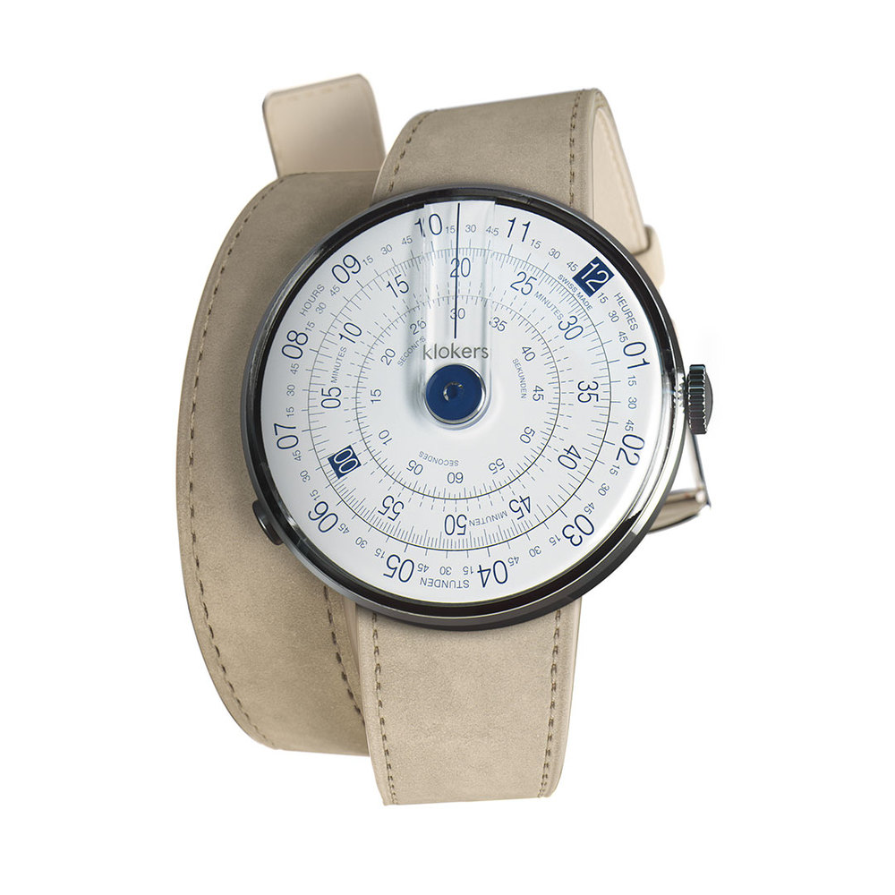 klokers | KLOK-01-D4 錶頭 藍色 - 雙圈皮革錶帶