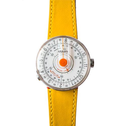 klokers | KLOK-08-D2錶頭 橘軸 - 單圈皮革錶帶