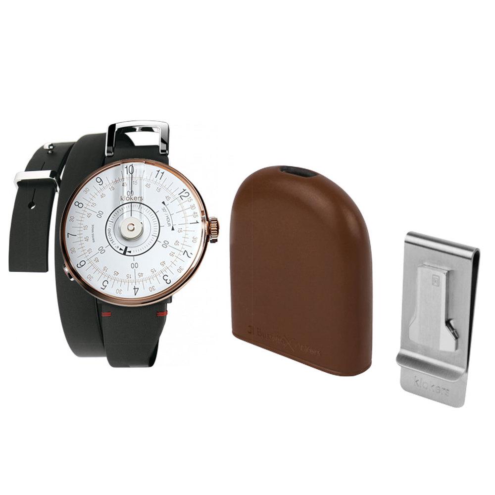 klokers |  KLOK-08 白軸 時尚皮革懷錶套件組