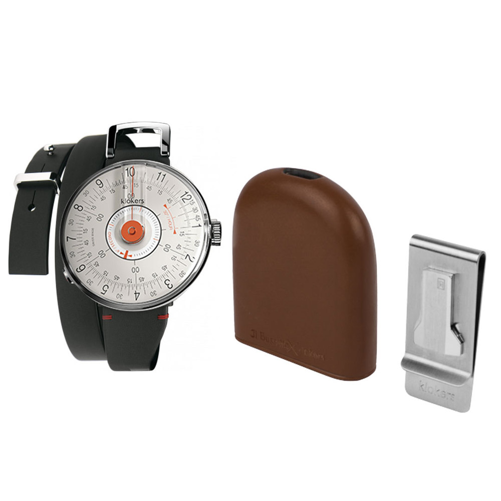 klokers    KLOK-08 橘軸時尚皮革懷錶套件組