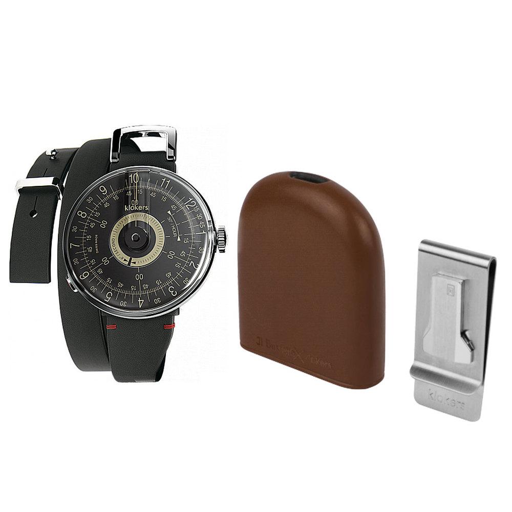 klokers |  KLOK-08 黑軸時尚皮革懷錶套件組
