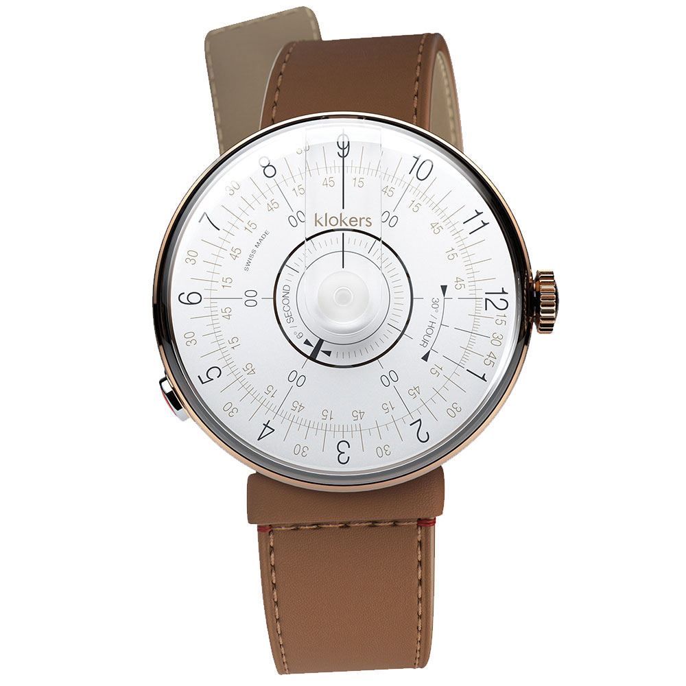 klokers KLOK-08-D1白軸-單圈細直皮革錶帶_錶徑39mm