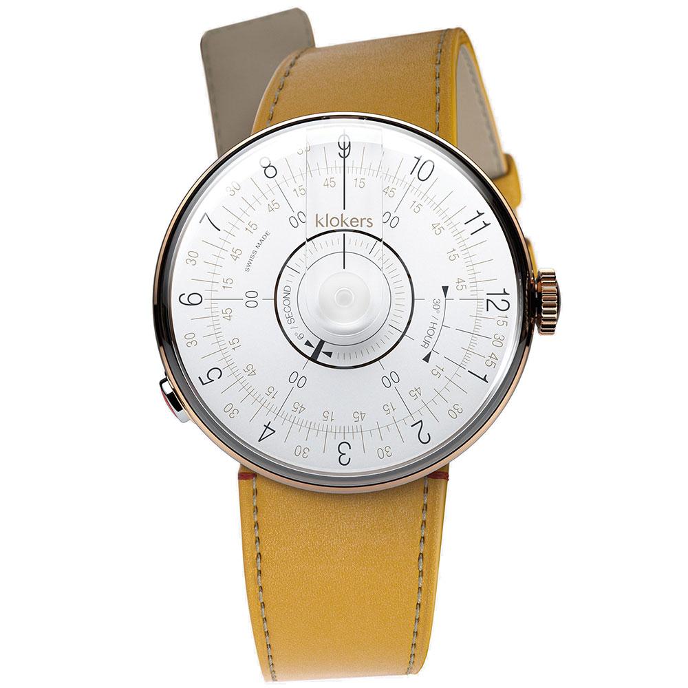 klokers KLOK-08-D1白軸-單圈皮革錶帶_錶徑39mm