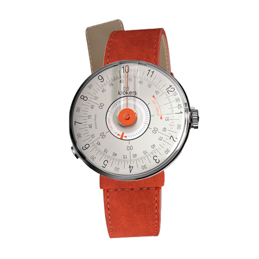 klokers | KLOK-08-D2 錶頭 橘軸 - 單圈細直皮革錶帶