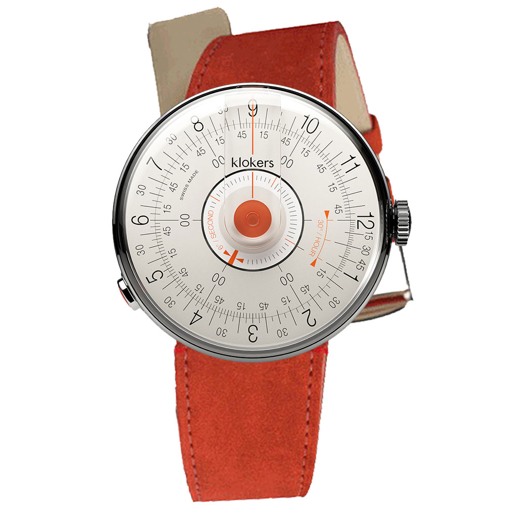 klokers KLOK-08-D2橘軸-單圈皮革錶帶_錶徑39mm