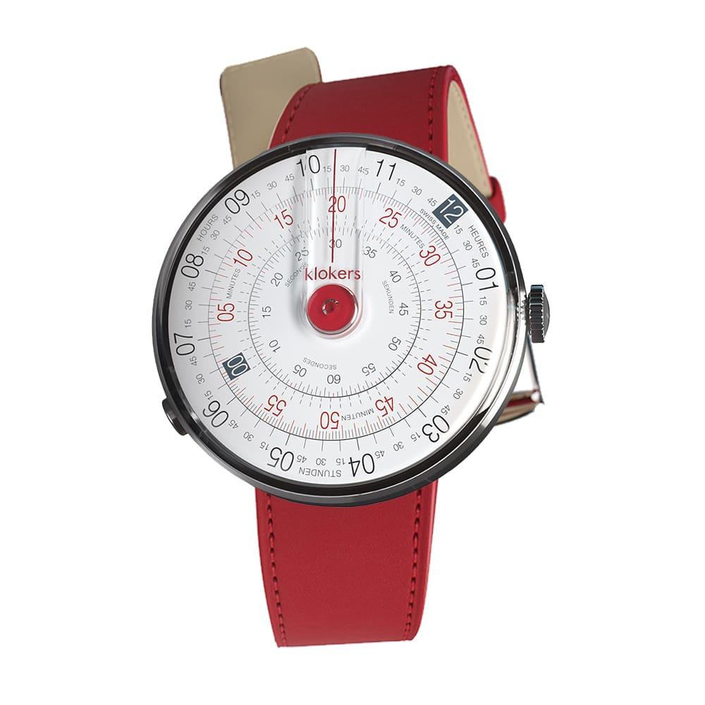 klokers | KLOK-01-D3錶頭 紅色 - 單圈皮革錶帶