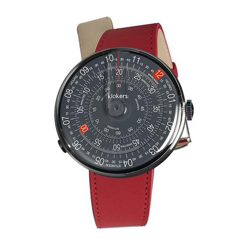 klokers | KLOK-01-D8  深灰色錶頭 - 單圈皮革錶帶
