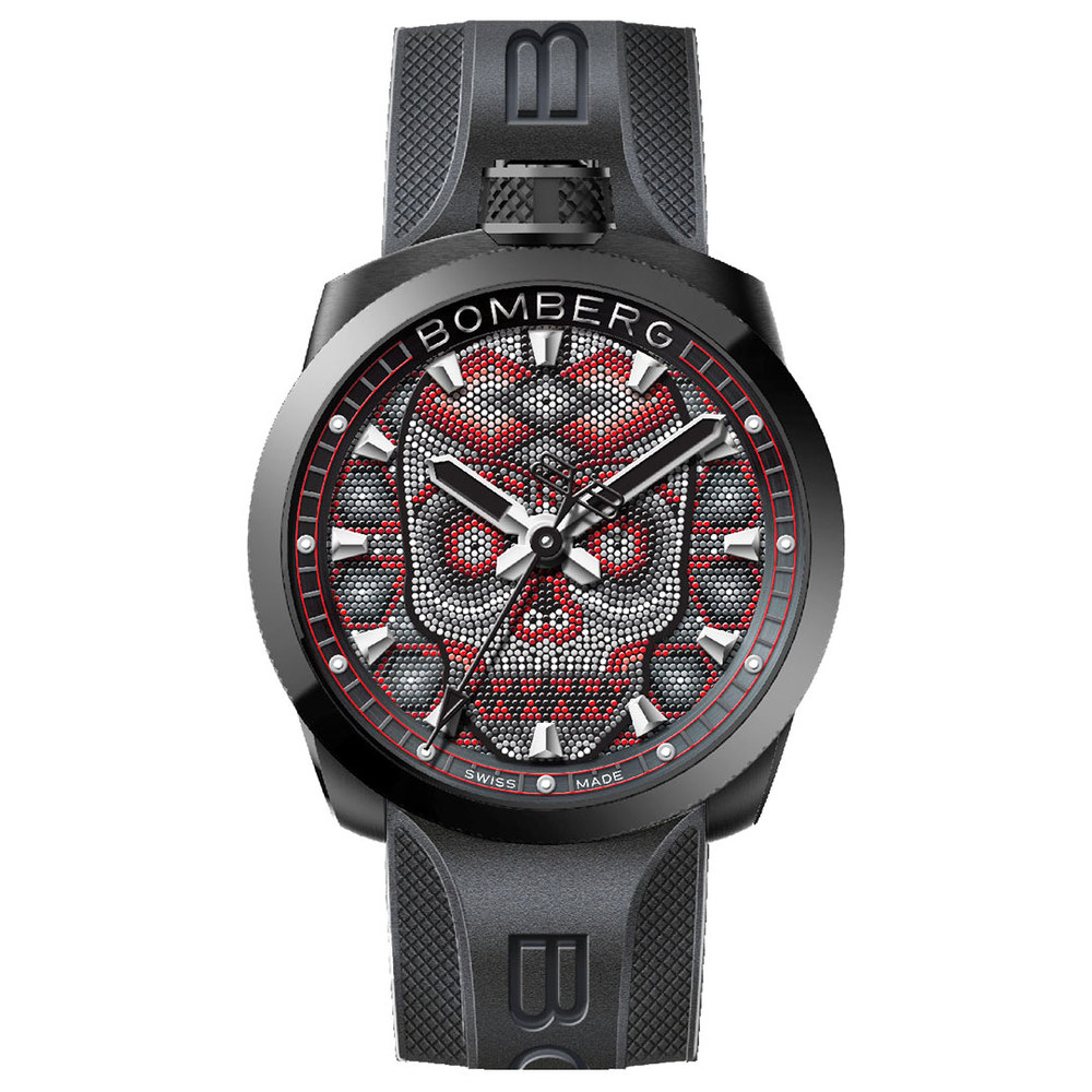 BOMBERG | BOLT-68 黑紅珍珠骷髏計時碼錶