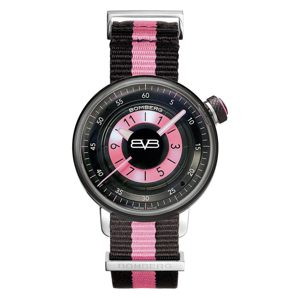 BOMBERG|BB-01 粉紅帆布帶錶款-錶徑 38mm