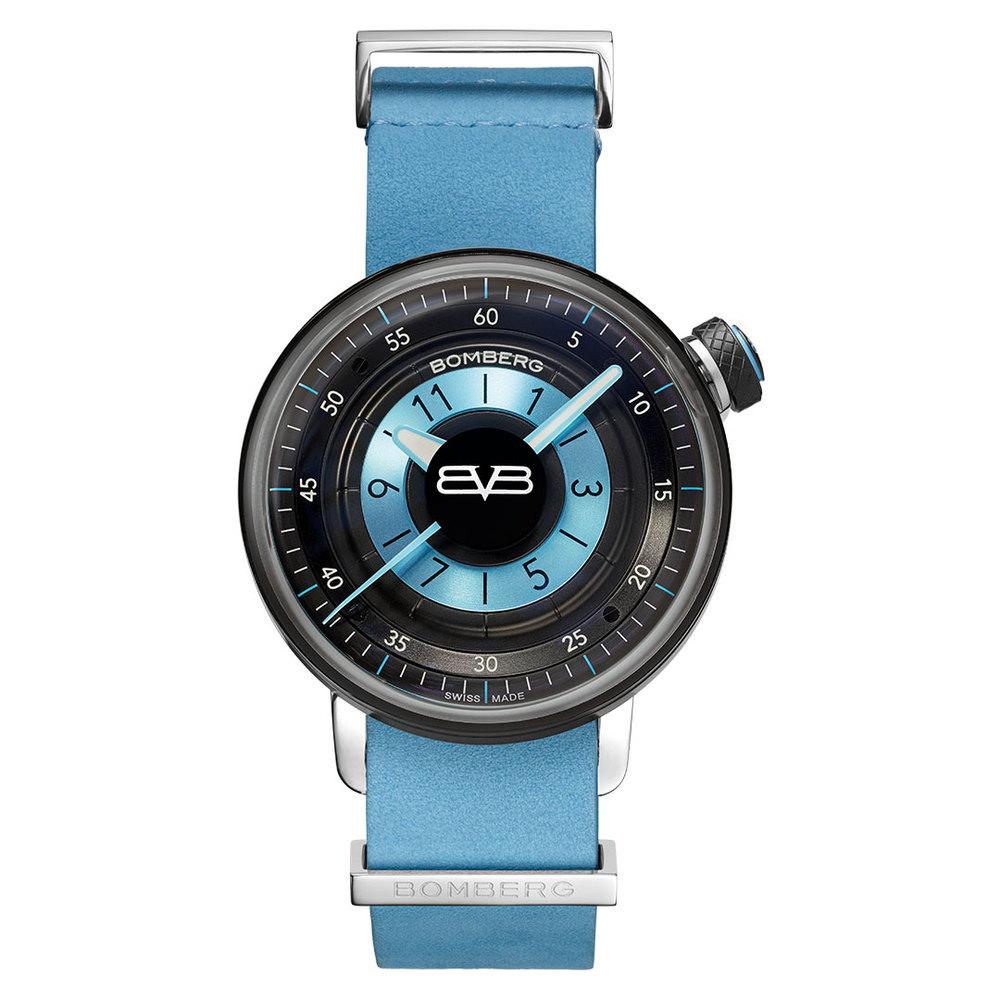 BOMBERG |BB-01 藍色皮錶帶錶款- 錶徑 38mm