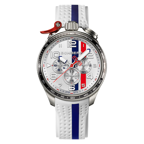 BOMBERG BOLT - 68 RACING 系列 全鋼白面XL復古賽車計時碼錶-錶徑 45mm