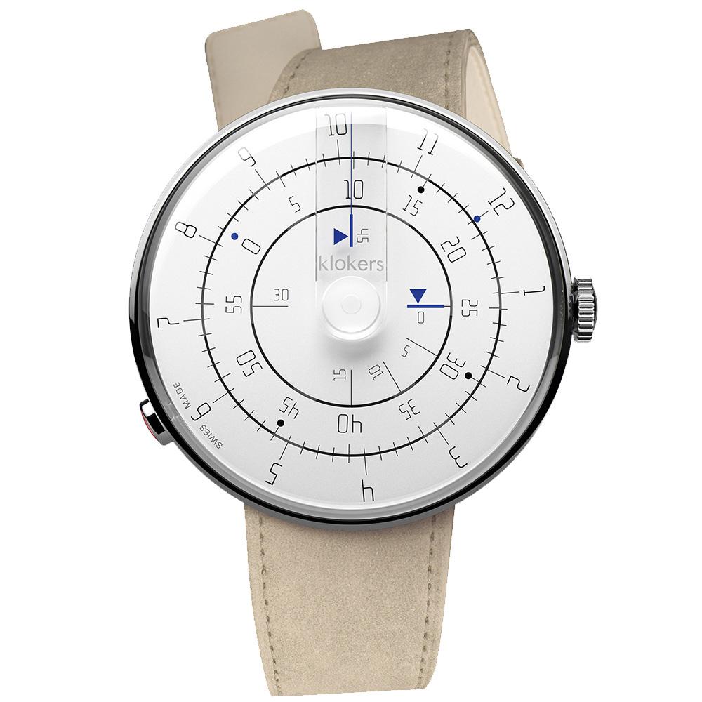 klokers|KLOK-01-M1極簡白色錶頭-單圈皮革錶帶_錶徑44mm