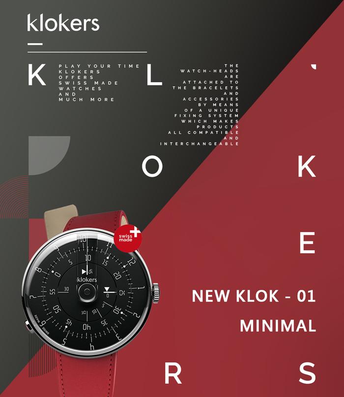 klokers | KLOK-01-M2 極簡黑色錶頭 - 單圈皮革錶帶