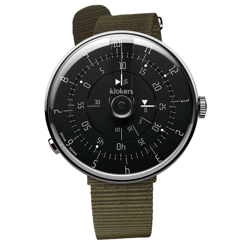 klokers | KLOK-01-M2 極簡黑色錶頭 - 單圈尼龍錶帶
