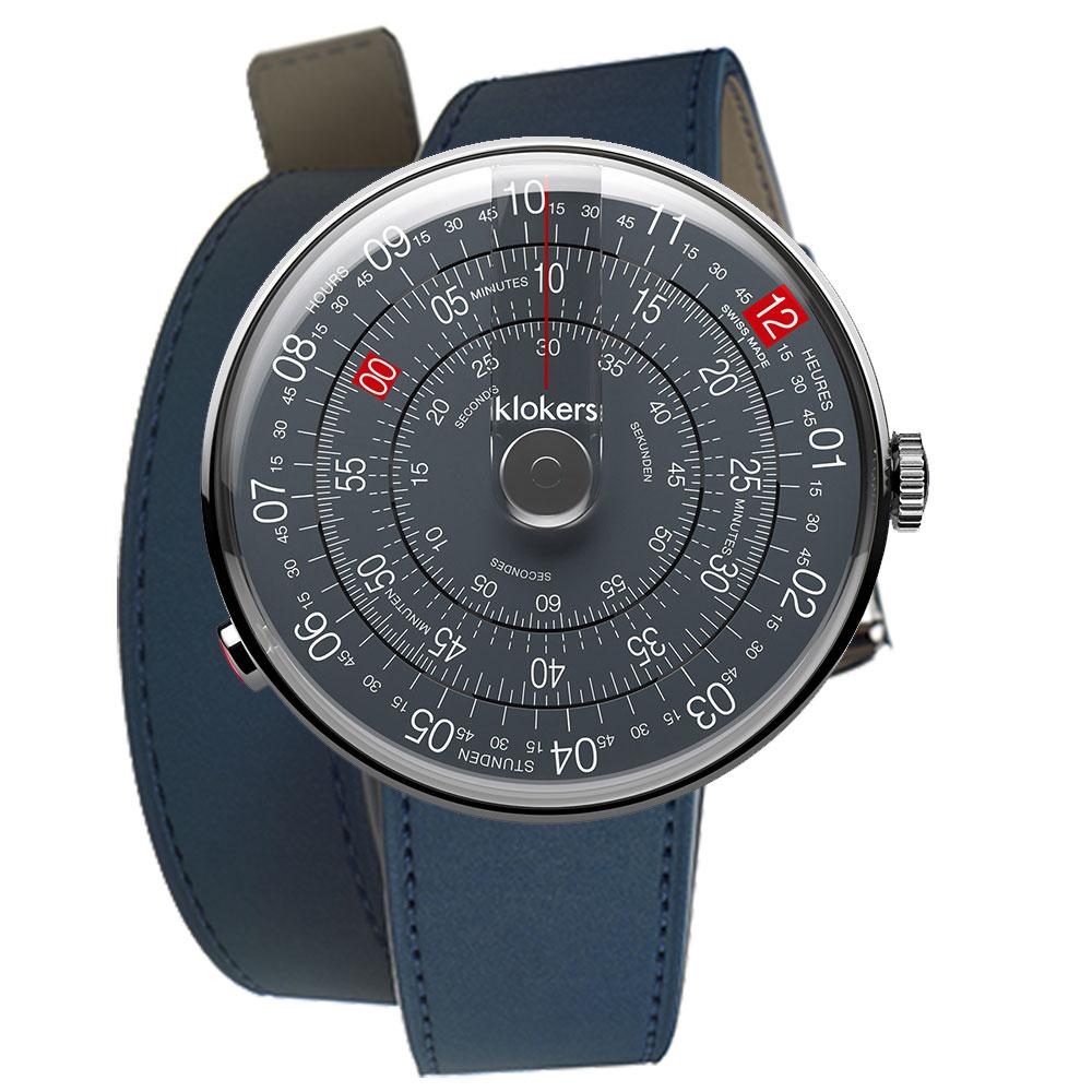 klokers KLOK-01-D8深灰色錶頭 - 雙圈皮革錶帶_錶徑44mm