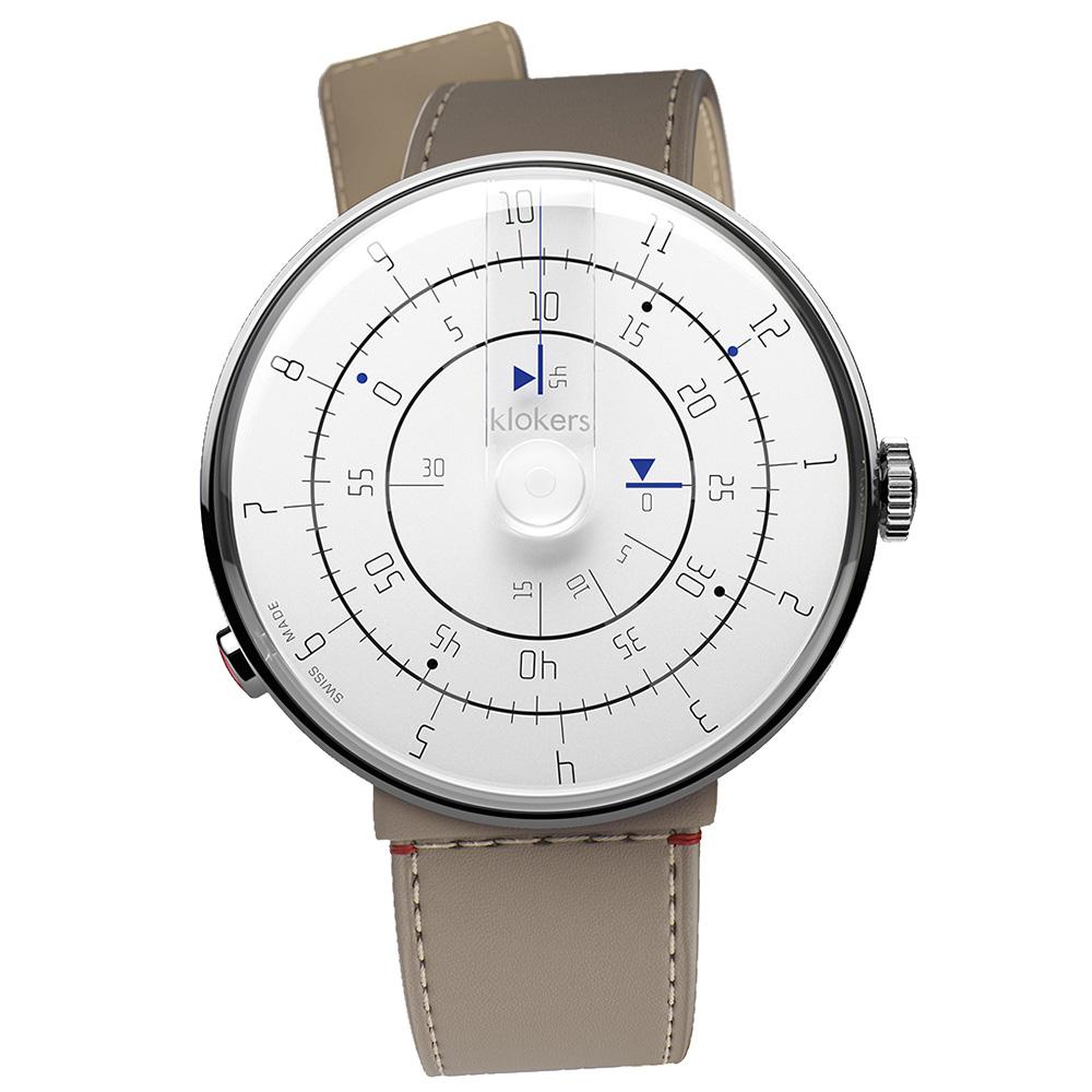 klokers|KLOK-01-M1極簡白色錶頭 - 寬版單圈皮革錶帶_錶徑44mm