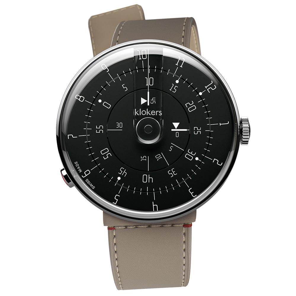 klokers|KLOK-01-M2極簡黑色錶頭 - 寬版單圈皮革錶帶_錶徑44mm
