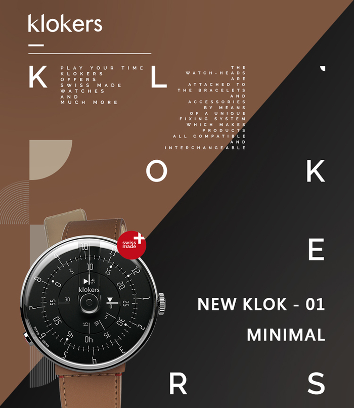 klokers | KLOK-01-M2 極簡黑色錶頭 - 寬版單圈皮革錶帶_錶徑 44 mm