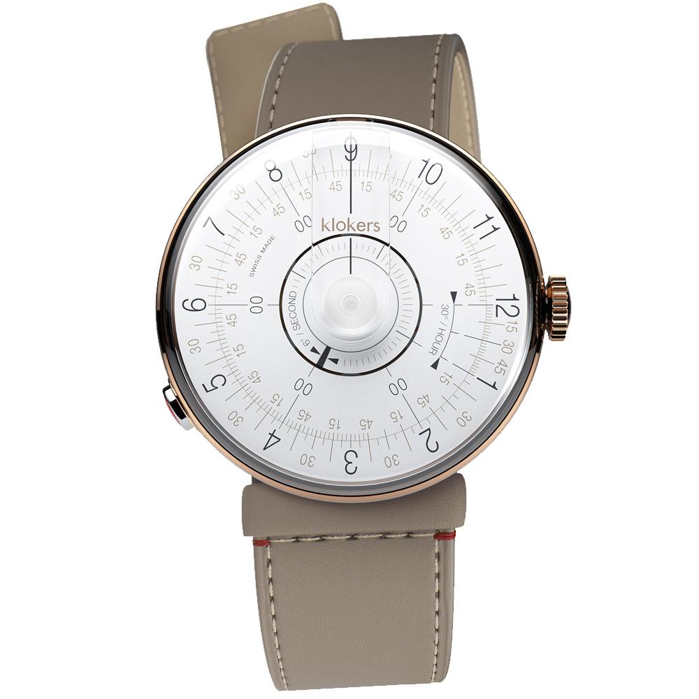 klokers|KLOK-08-D1白軸 - 寬版單圈皮革錶帶_錶徑39mm
