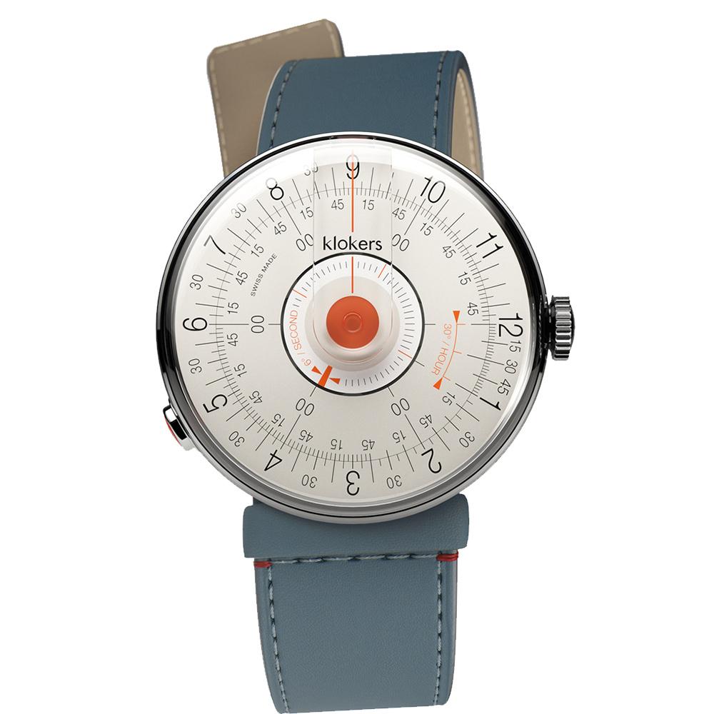 klokers KLOK-08-D2橘軸 - 寬版單圈皮革錶帶_錶徑39mm