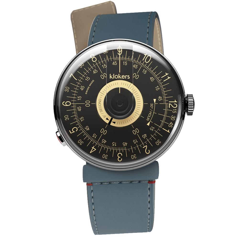 klokers|KLOK-08-D3黑軸 - 寬版單圈皮革錶帶_錶徑39mm
