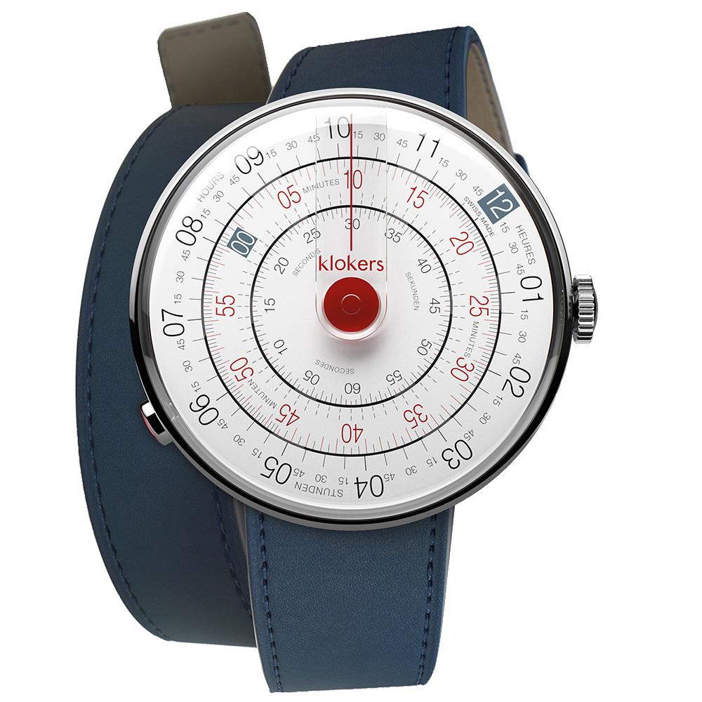 klokers KLOK-01-D3紅色錶頭 - 雙圈皮革錶帶_錶徑44mm