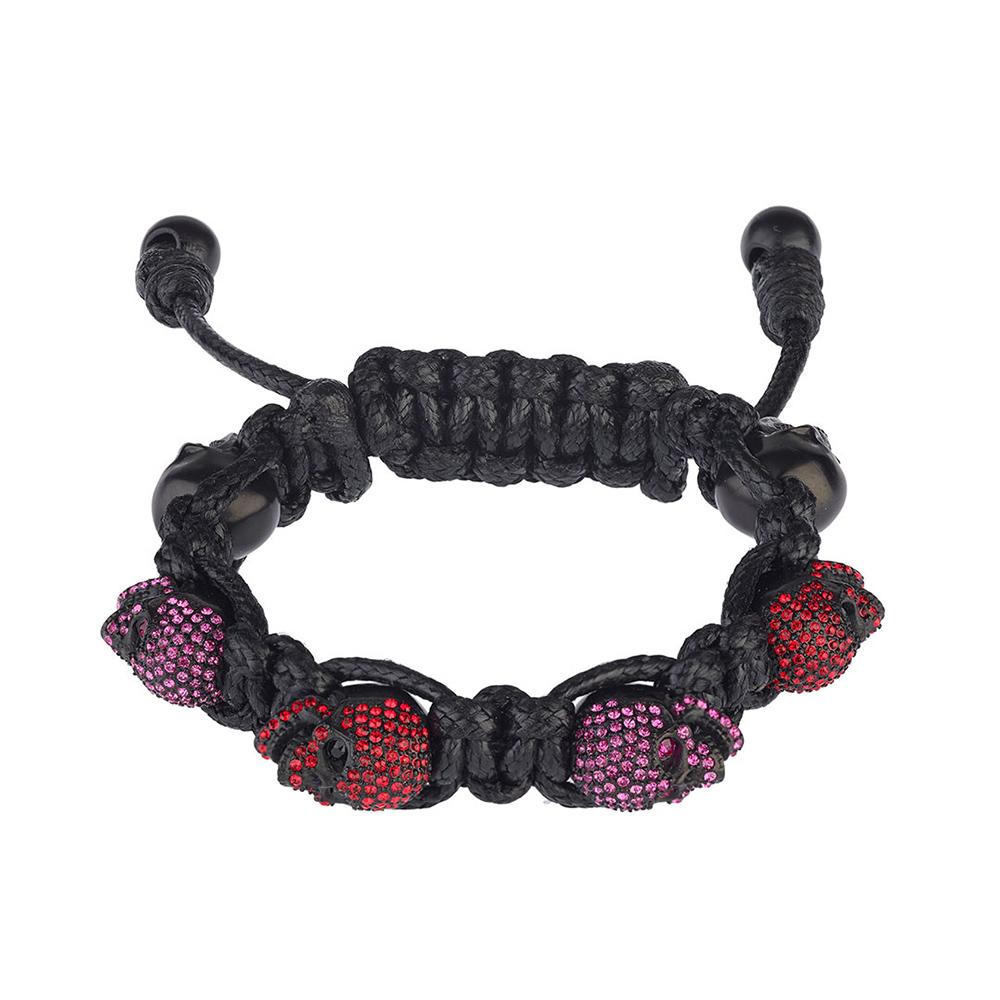 BOMBERG|紫紅水鑽黑骷髏黑色手環_S