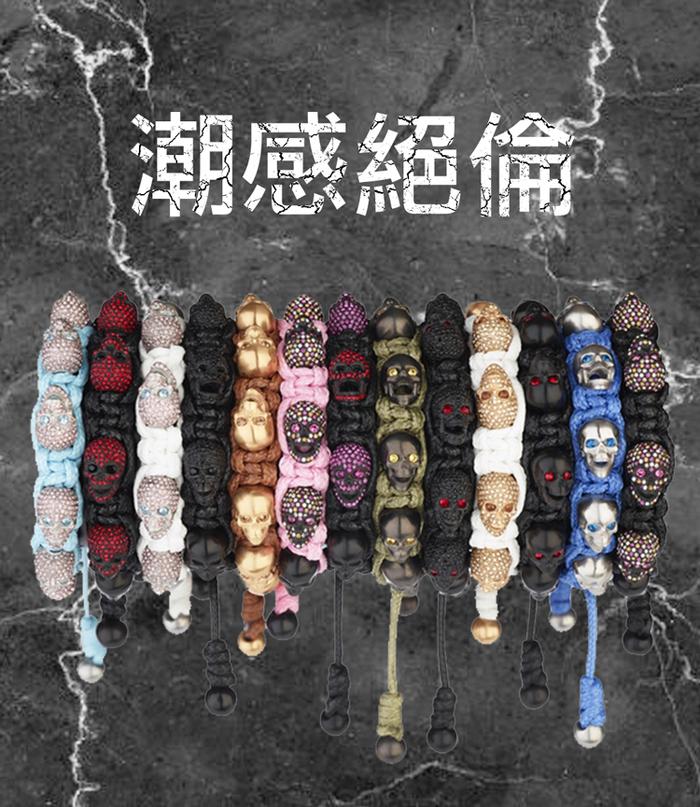 BOMBERG 白水鑽藍眼銀骷髏粉藍色手環_M-JW-LBT-FSSS.M8.3