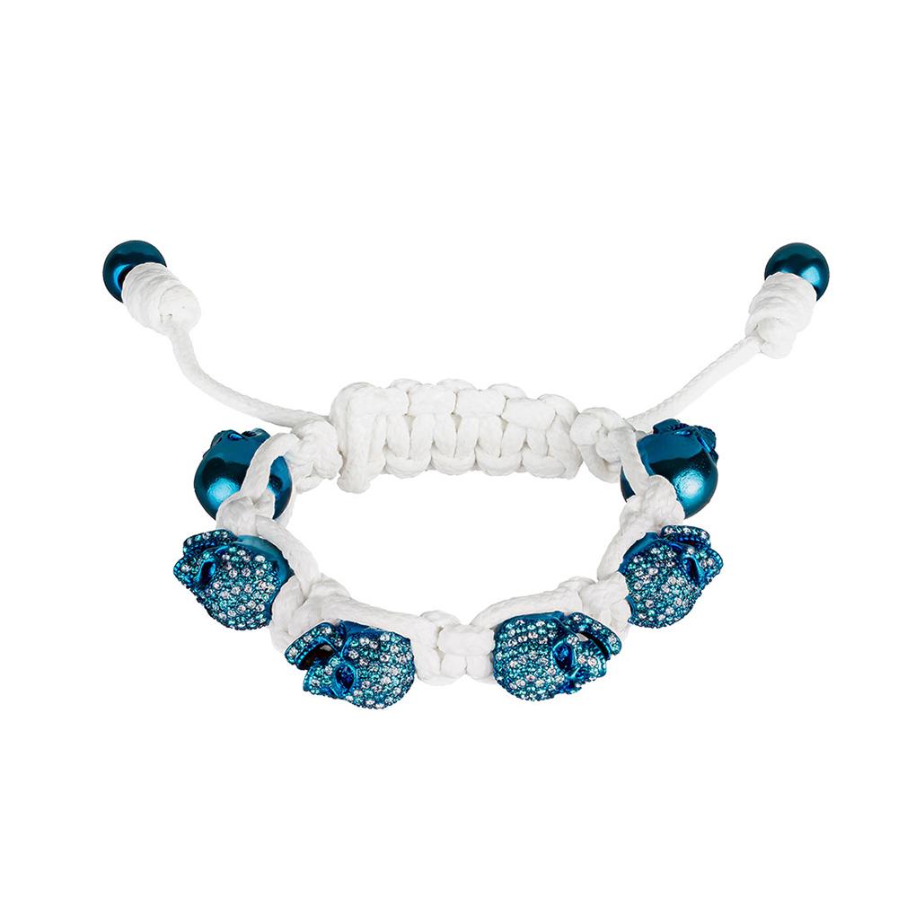 BOMBERG|藍水鑽藍骷髏白色手環_S