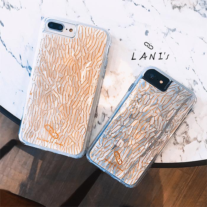 (複製)LANI's Apple iPhone 手機殼-黑白鑲金貝殼