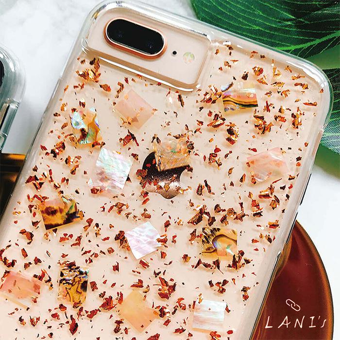 (複製)LANI's Apple iPhone 手機殼-銀箔白底貝殼