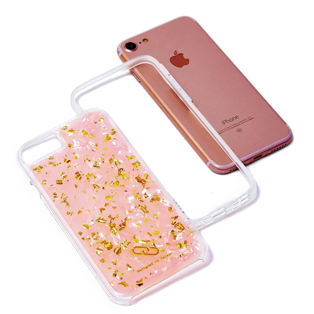LANI's Apple iPhone 手機殼-粉底貝殼金箔