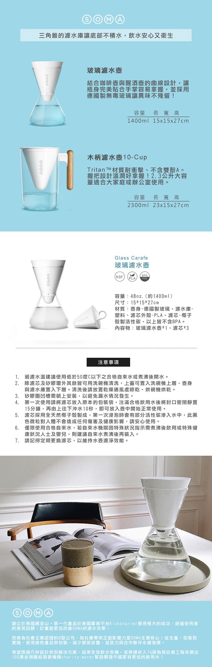 (複製)美國SOMA|玻璃濾水壺-1400ML