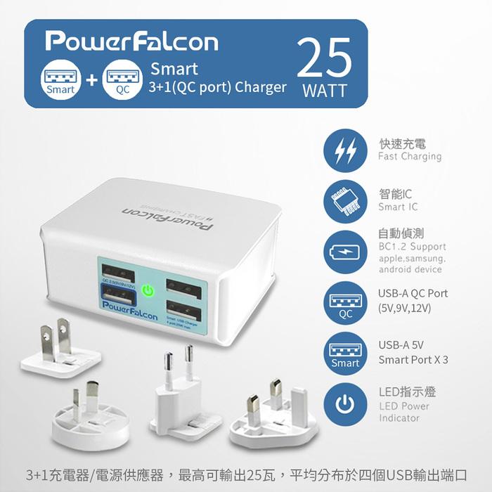 (複製)PowerFalcon|25W USB-A QC3.0 4孔快速充電器-可折疊插頭款