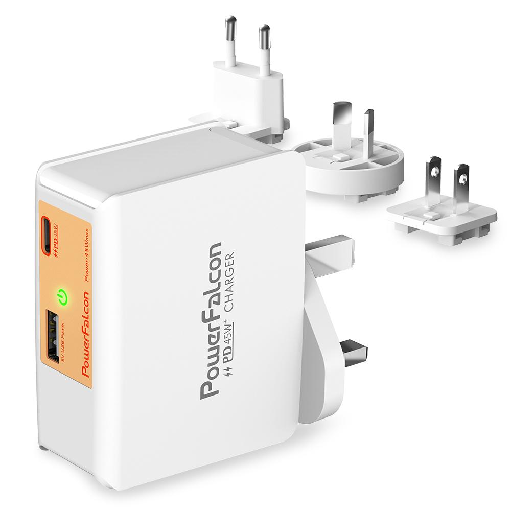 PowerFalcon|45W USB-A+C PD/QC3.0 2孔快速充電器-旅行萬用接頭款