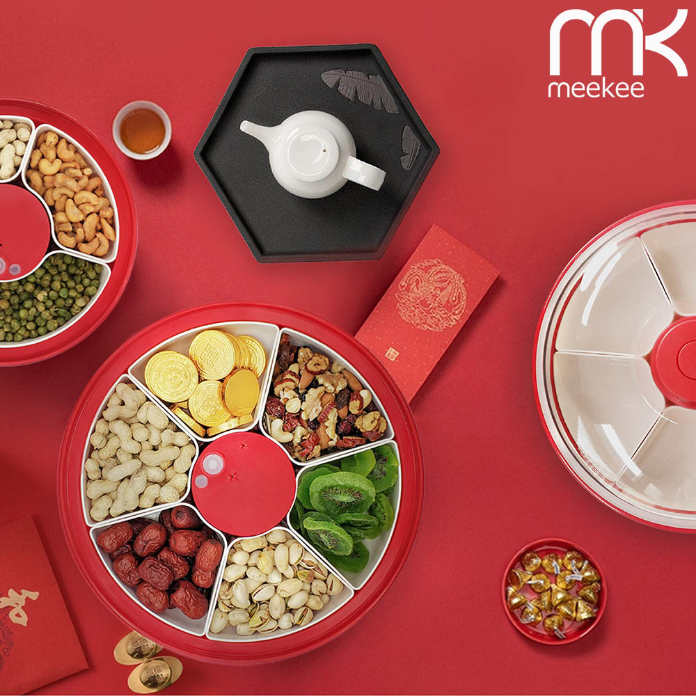 meekee|神鮮盒-電動真空保鮮零食/堅果/糖果盒 (六格盒-紅色)