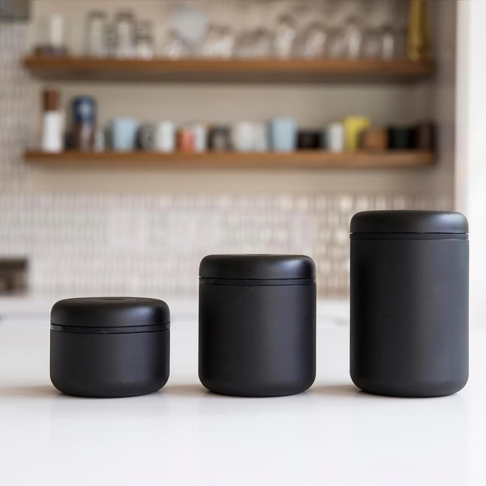 FELLOW|ATMOS 真空密封罐 不銹鋼啞光黑三入超值組