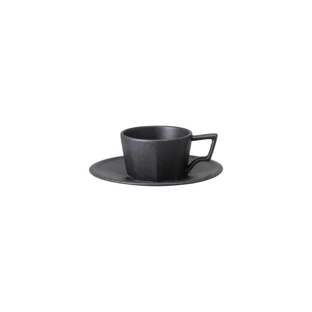 KINTO OCT八角陶瓷杯盤組 80ml - 黑