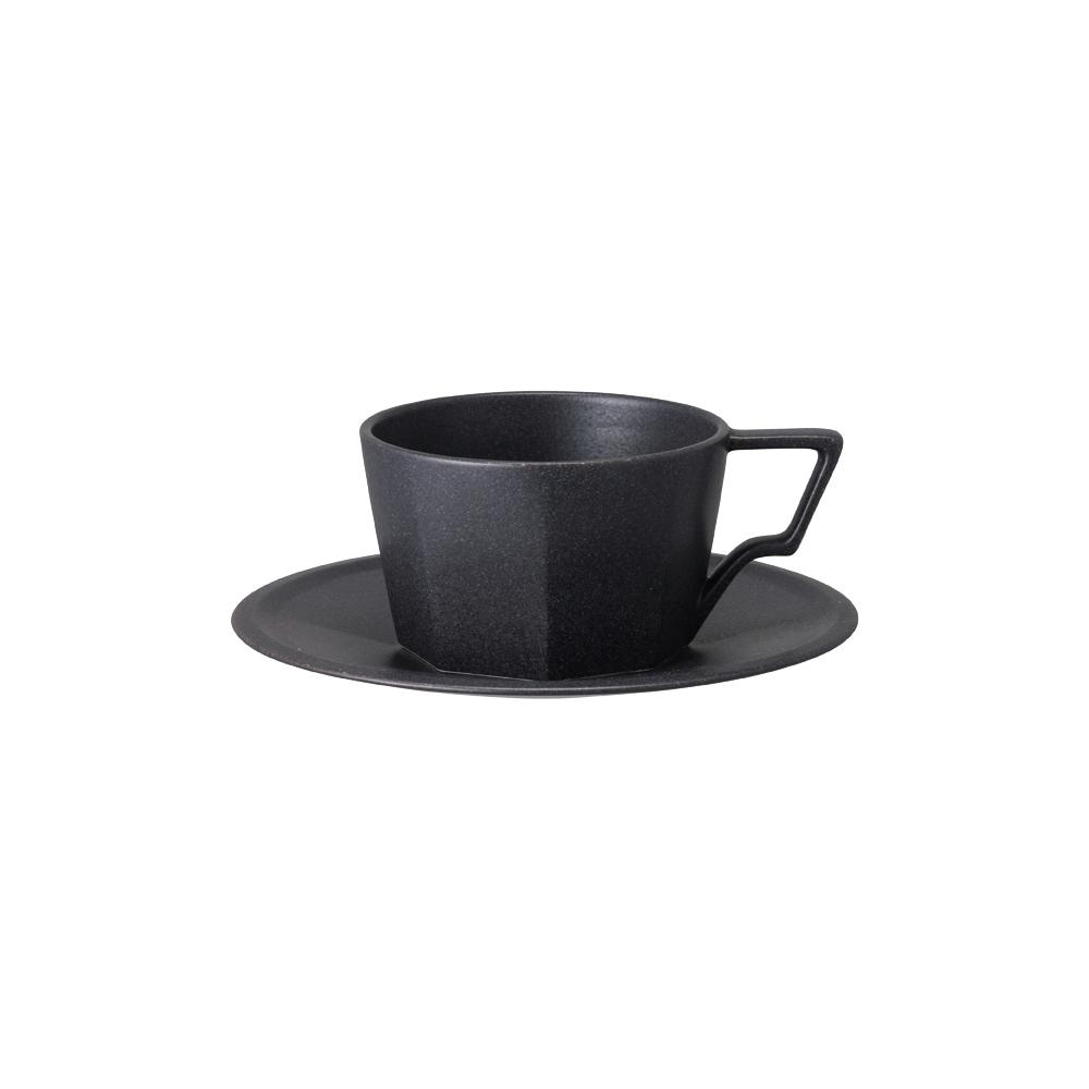 KINTO|OCT八角陶瓷杯盤組 300ml - 黑