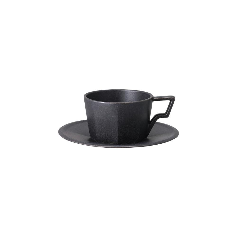 KINTO OCT八角陶瓷杯盤組 220ml - 黑