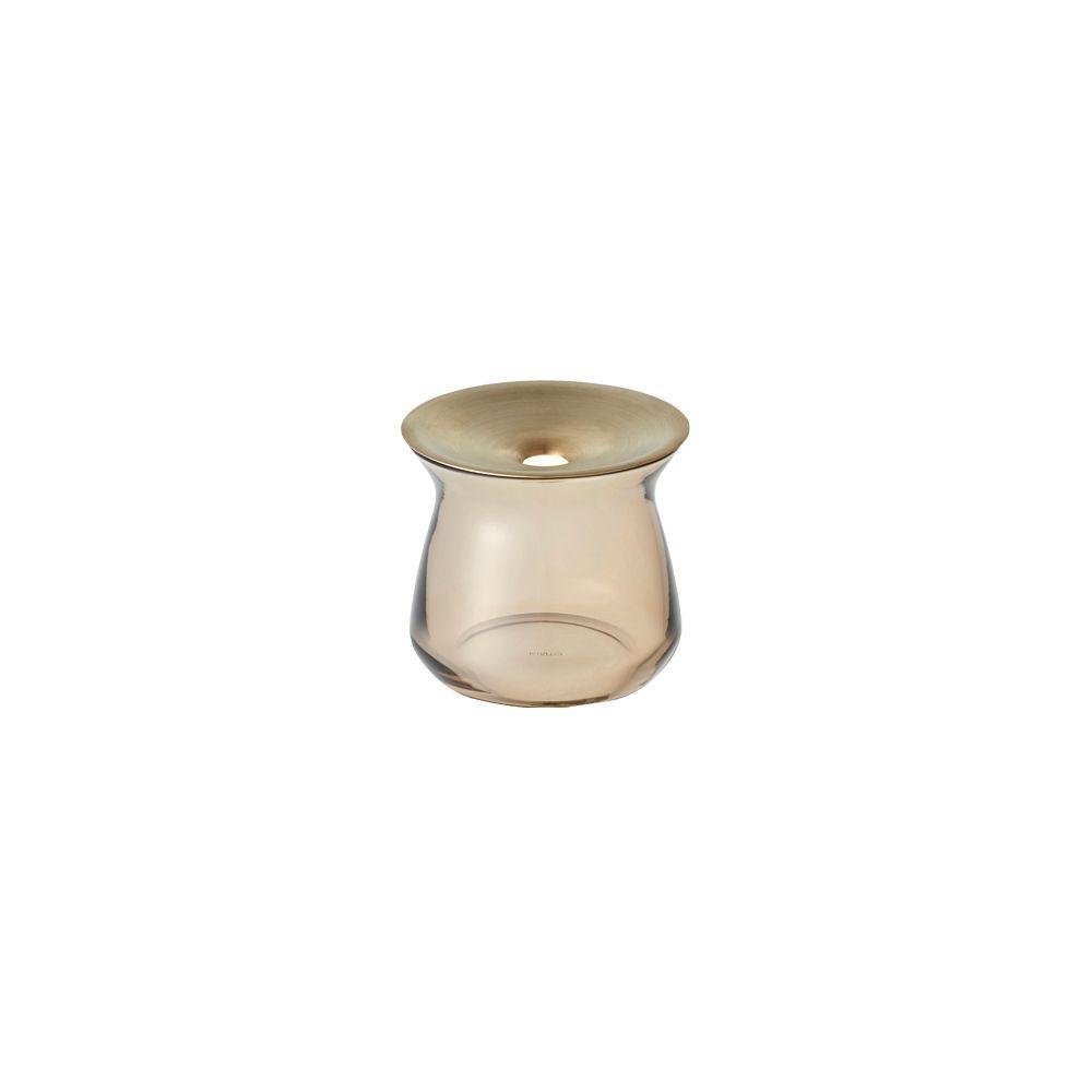 KINTO|LUNA 黃銅玻璃花瓶 170ml 咖啡色