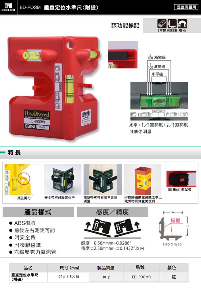 (複製)日本EBISU|Pro-work系列-排水流向水平儀 -3管多泡