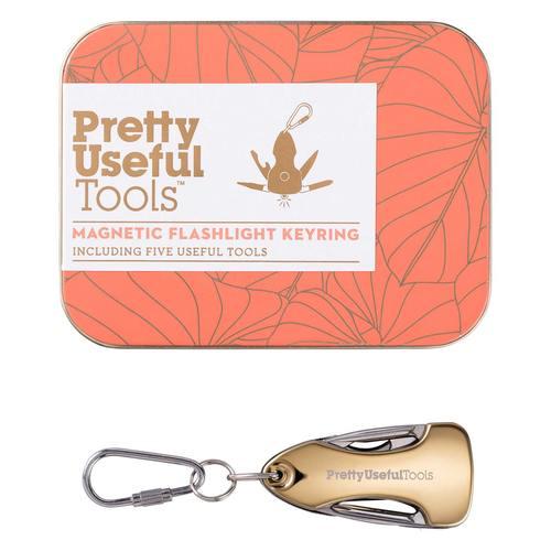 Pretty Useful Tools 金色5合1多功能LED隨身鑰匙圈手電筒 - 附磁