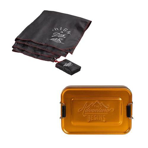 Gentlemen's Hardware|戶外野餐組合:防水防潮地墊+多功能點心收納盒(金銅)