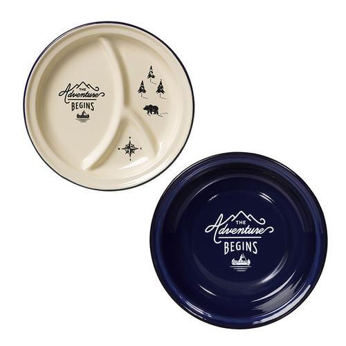 Gentlemen's Hardware|經典戶外琺瑯餐盤組:經典米白分隔餐盤+紳士藍戶外琺瑯餐盤