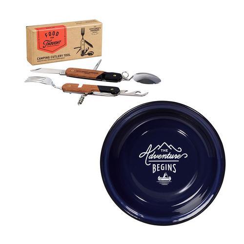 Gentlemen's Hardware|經典紳士戶外餐具組:紳士藍琺瑯餐盤+木質握把多功能刀叉工具組