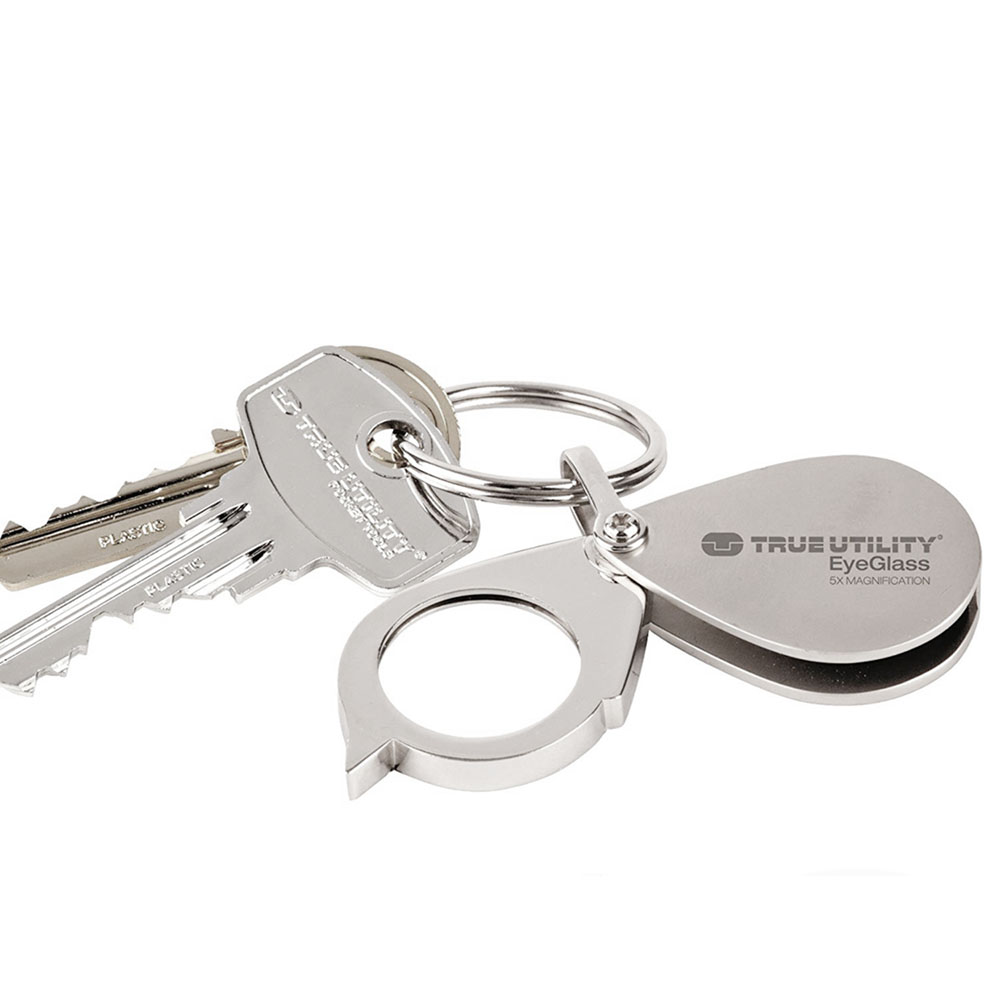 TRUE UTILITY l 獨家組合:英國多功能隨身放大鏡鑰匙圈EyeGlass+USB充電迷你電筒LifeLite