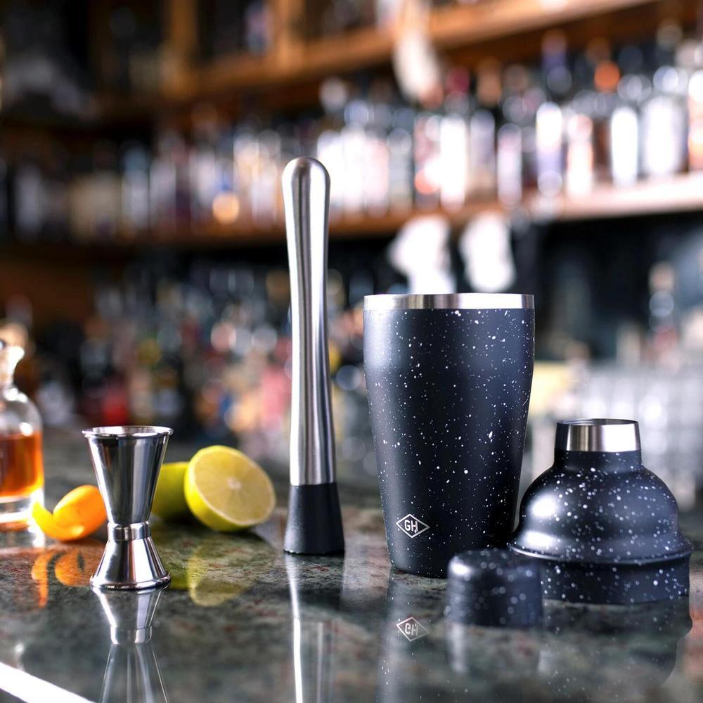Gentlemen's Hardware|極簡噴砂雪黑系列-雪克杯+調酒量杯3件