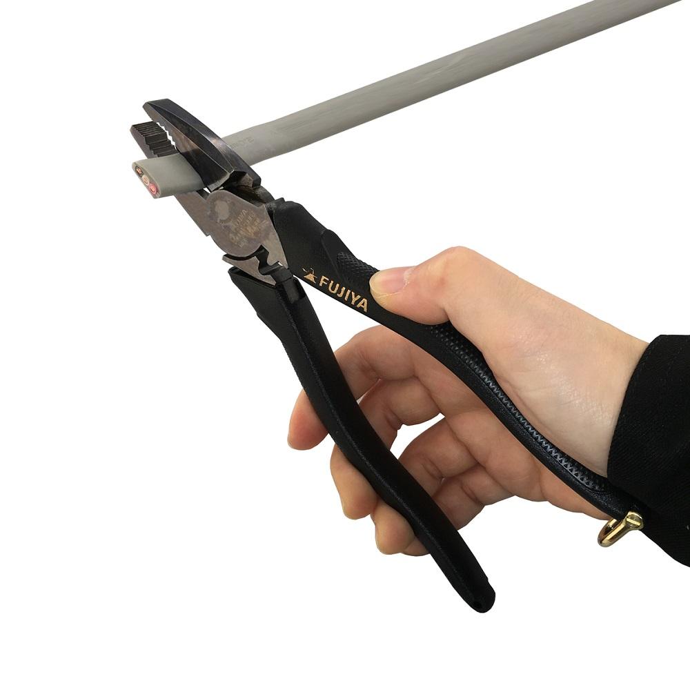 FUJIYA日本富士箭|黑金系列-偏芯強力膠柄鋼絲鉗225mm (3000N-225BG)