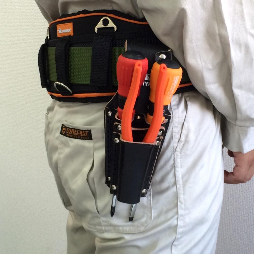 FUJIYA日本富士箭 高級黑牛皮腰間鉗子+起子收納袋-四支型